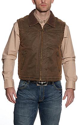 Cripple Creek Men's Brown Enzyme Washed with Corduroy Collar Zip Vest