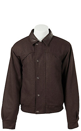 Cripple Creek Men's Melton Heather Chocolate Wool with Faux Leather Jacket