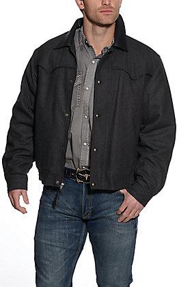 Cripple Creek Men's Melton Dark Charcoal Wool with Faux Leather Jacket
