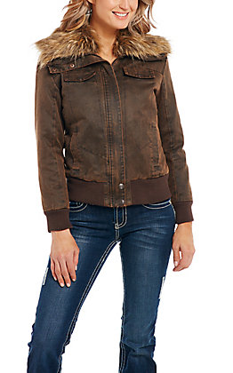Cripple Creek Women's Brown with Faux Fur Collar Concealed and Carry Jacket
