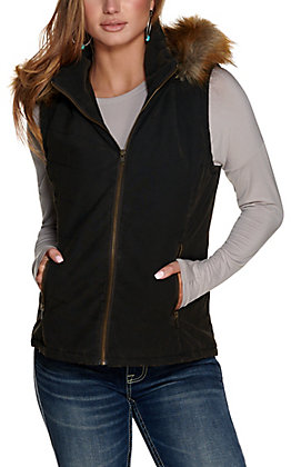 Cripple Creek Women's Dark Brown Distressed Enzyme Washed Removable Hood Concealed Carry Quilted Vest