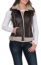 Cripple Creek Women's Brown Sherpa Lined Aviator Vest
