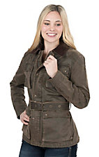 Cripple Creek Women's Dark Brown with Belt and Pockets Long Sleeve Jacket