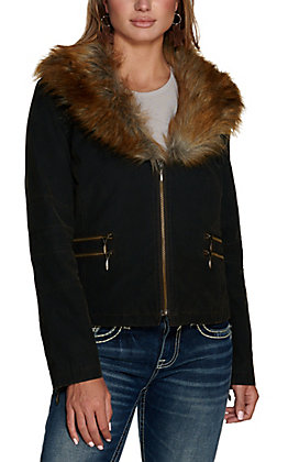 Cripple Creek Women's Dark Brown Distressed Enzyme Washed Removable Faux Fur Collar Concealed Carry Jacket