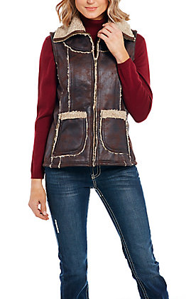 Cripple Creek Women's Brown with Faux Shearling Zip Front Vest