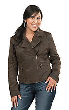 Cripple Creek Women's Brown with Removable Faux Fur Collar Long Sleeve Jacket