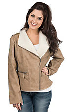 Cripple Creek Women's Tan Faux Leather with Sherpa Collar Long Sleeve Jacket