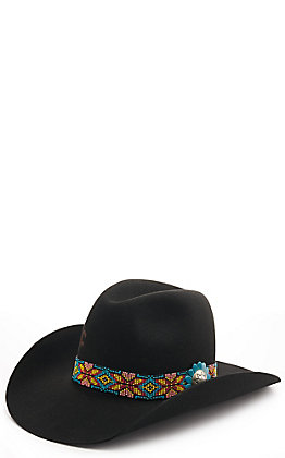 Charlie 1 Horse Gold Digger Black 5X with Turquoise Beaded Flower Hatband Felt Hat