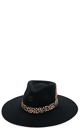 Charlie 1 Horse Women's Heatseeker Black with Leopard Band and Leather Feather Western Fashion Hat