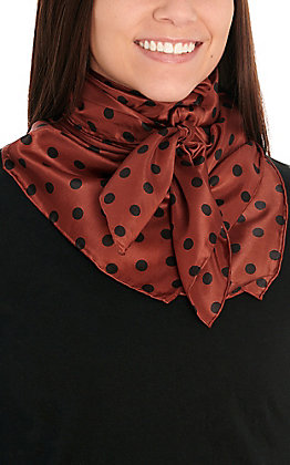 Wine with Black Polka Dots Silk Wild Rags Scarf