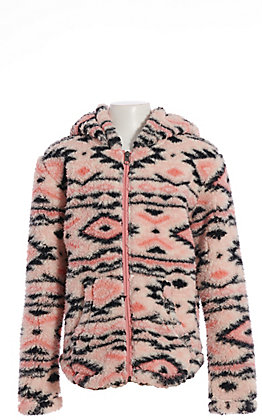 Cruel Girl Girls' Pink and Black Aztec Fuzzy Hooded Fleece Jacket