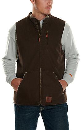 Cowboy Workwear Men's Dark Brown Sherpa Lined Canvas Vest