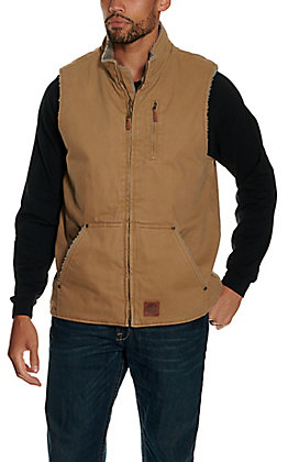 Cowboy Workwear Men's Tan Sherpa Lined Canvas Vest