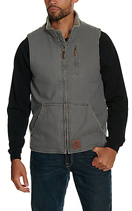 Cowboy Workwear Men's Grey Sherpa Lined Canvas Vest