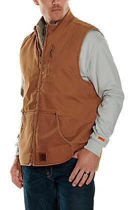 Cowboy Workwear Men's Brown Sherpa Lined Canvas Vest