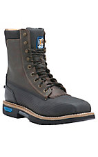 Cinch Men's Carbon Black Tek Tuff Square Safety Toe 9in Lace-Up Waterproof Work Boots