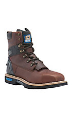 Cinch Men's Dark Brown Square Safety Toe 8in Waterproof Lace-Up Work Boots