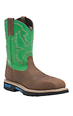 Cinch Men's Brown & Spring Green Square Safety Toe Waterproof Work Boots