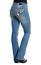 Wired Heart Women's Lace Flap Boot Cut Jeans