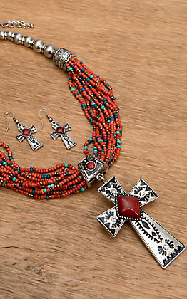 Wear N.E. Wear Red and Turquoise Beaded and Silver Pendant Necklace Jewelry Set