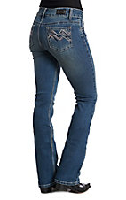Wired Heart Women's Medium Wash ZigZag Boot Cut Jeans