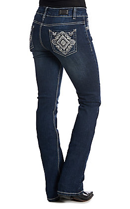 Wired Heart Women's Diamond Embroidered Dark Wash Boot Cut Jeans