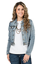 Chiqle Women's Light Wash Denim Jacket