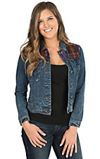 Chiqle Women's Medium Wash Denim with Aztec Fabric Inset Jacket