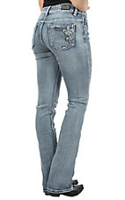 Wired Heart Women's Light Blue Fleur De Lis Swirl Embroidered Open Pocket Boot Cut Jeans