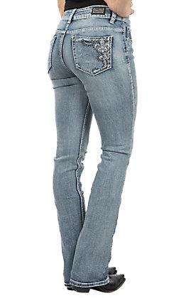 Wired Heart Women's Light Blue Fleur De Lis Swirl Embroidered Open Pocket Boot Cut Jeans