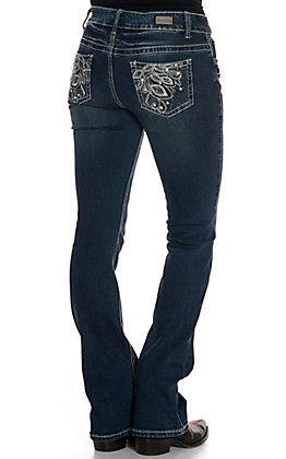 Wired Heart Women's Peacock Feather Boot Cut Jeans