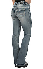 Wired Heart Women's Aztec Bling Open Pocket Boot Cut Jeans