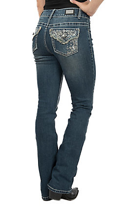 Wired Heart Women's Distressed Embroidered Open Pocket Boot Cut Jeans