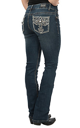 Wired Heart Cross Flap Pocket Boot Cut Jeans
