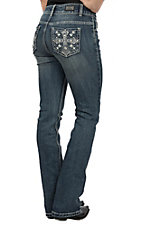 Wired Heart Women's Cross Open Pocket Boot Cut Jeans
