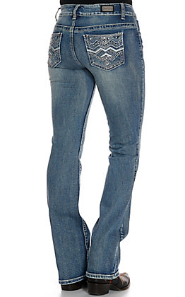 Wired Heart Women's Chevron with Leather Boot Cut Jeans