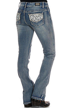 Wired Heart Women's White Leather Swirl Boot Cut Jeans
