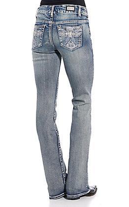 Wired Heart Women's Light Wash Celtic Cross Boot Cut Jeans