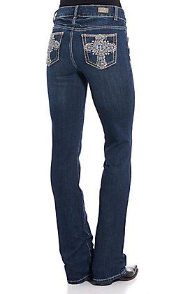 Wired Heart Women's Dark Wash Cross Embellished Boot Cut Jeans