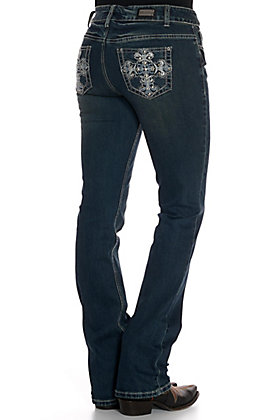 Wired Heart Women's Maltese Cross with Studs Boot Cut Jeans