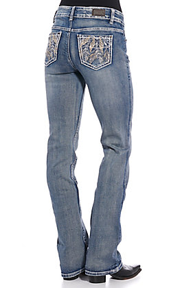 Wired Heart Women's Light Wash Tribal Feather Boot Cut Jeans
