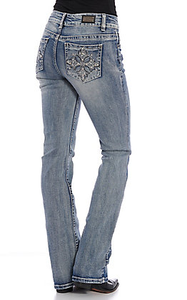 Wired Heart Women's Light Wash Cross Embellished Boot Cut Jeans