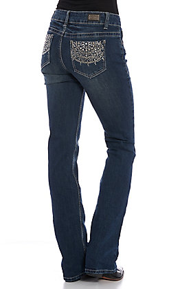 Wired Heart Women's Dark Wash Bling Embellished Boot Cut Jeans