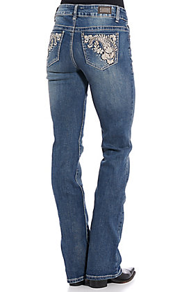 Wired Heart Women's Medium Vintage Floral Paisley Boot Cut Jeans