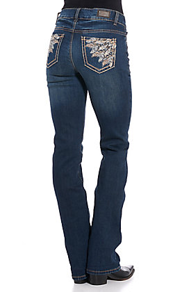 Wired Heart Women's Feather Embroidered Boot Cut Jeans