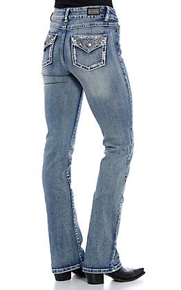 Wired Heart Women's Light Wash Swirls Embellished Boot Cut Jeans