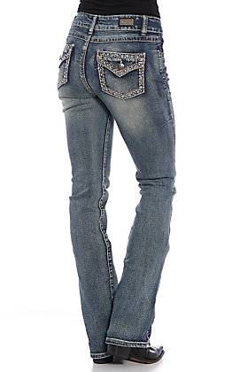 Wired Heart Women's Medium Wash Embellished Boot Cut Jeans