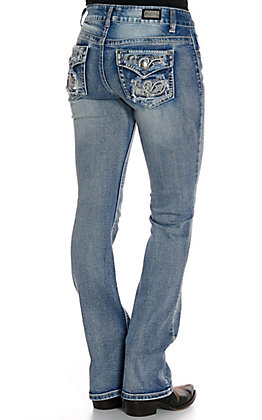 Wired Heart Women's Paisley Inlay Faux Flap Pockets Boot Cut Jeans
