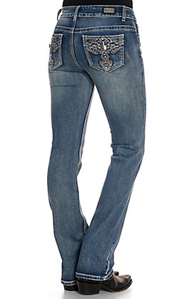 Wired Heart Women's Cross with Faux Flap Pockets Boot Cut Jeans