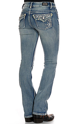 Wired Heart Women's Floral Swirl with Frayed Faux Flaps Boot Cut Jeans